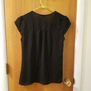 Express Tops - Cap sleeve black dress shirt